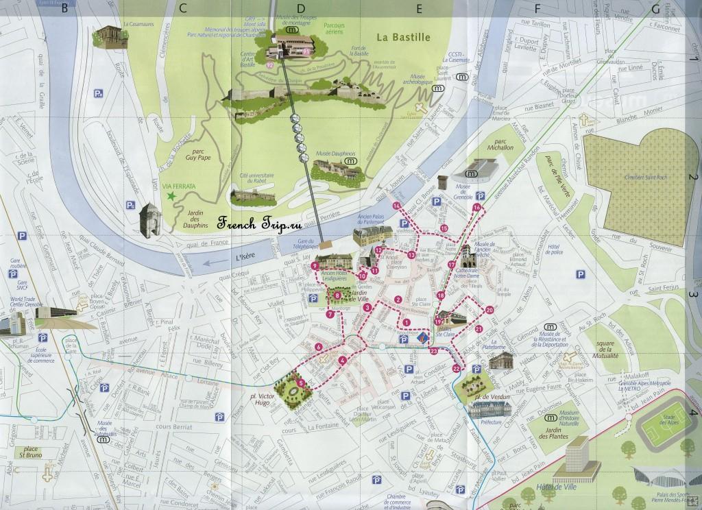 Туристический маршрут по Греноблю на карте: достопримечательности Гренобля
