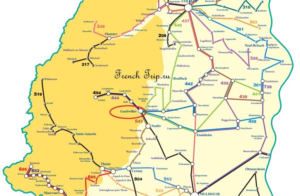 Карта автобусных маршрутов в Guebswiller по Эльзасу, схема автобусов по Эльзасу от Кольмара до Мюлуза