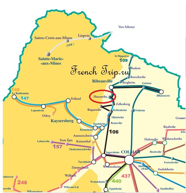 Схема автобусных маршрутов по Эльзасу вокруг Кольмара в Hunawihr - Hunawihr (Юнавир), Эльзас, Франция - достопримечательности, маршрут