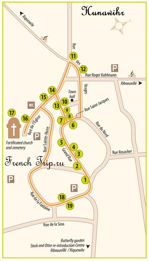 Карта Hunawihr с отмеченными достопримечательностями, туристический маршрут по Riquewihr: