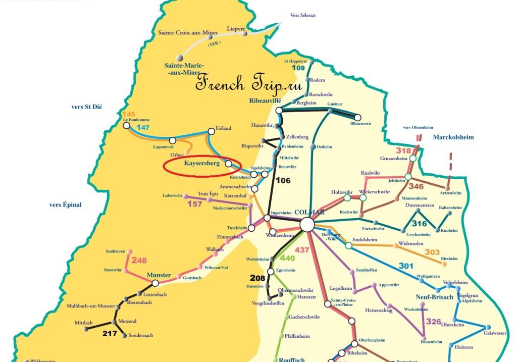 Схема автобусных маршрутов в Эльзасе: от Кольмара в Кайзерсберг