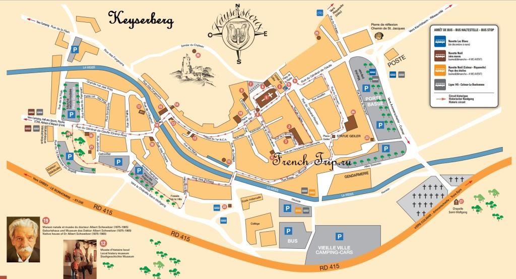 Карта Kaysersberg с отмеченными достопримечательностями и туристический маршрут по Кайзерсбергу: