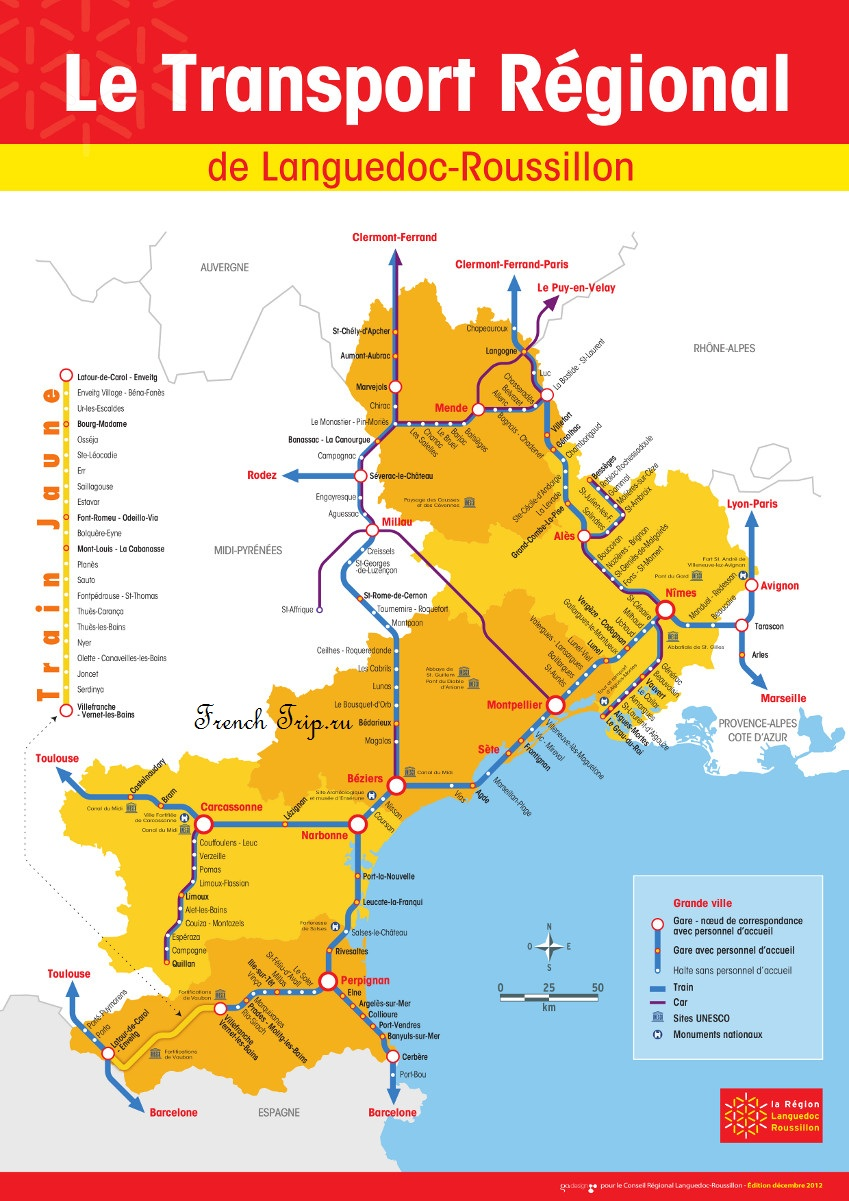 Схема маршрутов регионального транспорта в Лангедок-Русийоне - Автобусы по региону Лангедок-Русийон