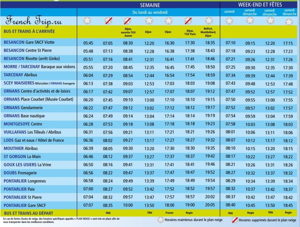 Расписание автобусов в Lods: Из Безансона в Pontarlier