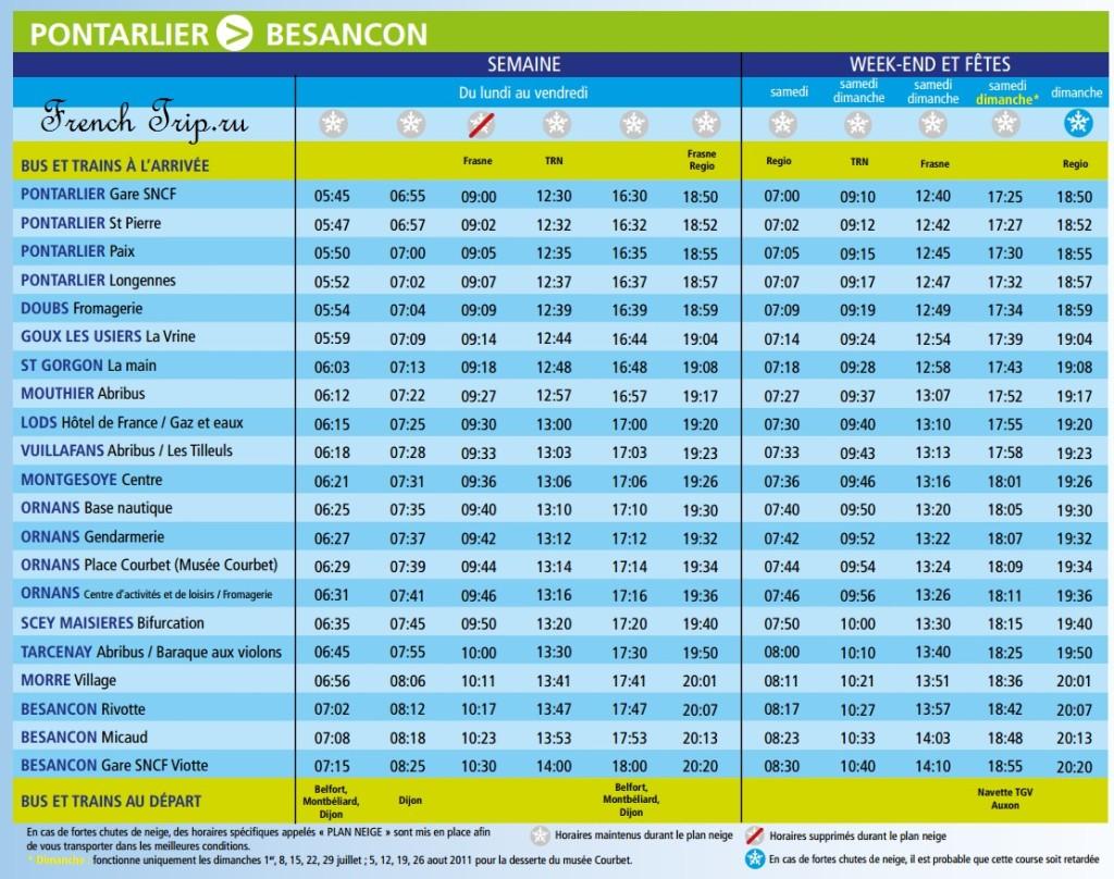 Расписание автобусов в Lods:Из Pontarlier в Безансон French Trip.ru