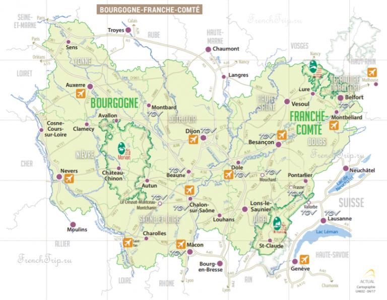 Карта региона Бургундия-Франш-Конте