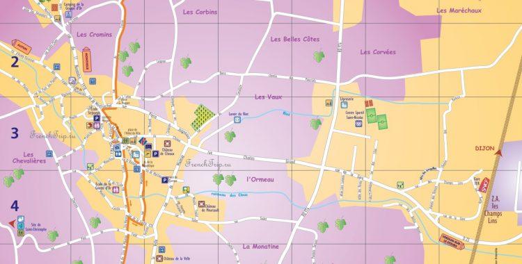 Meursault-map -туристическая карта Мерсо, Бургундия, Франция