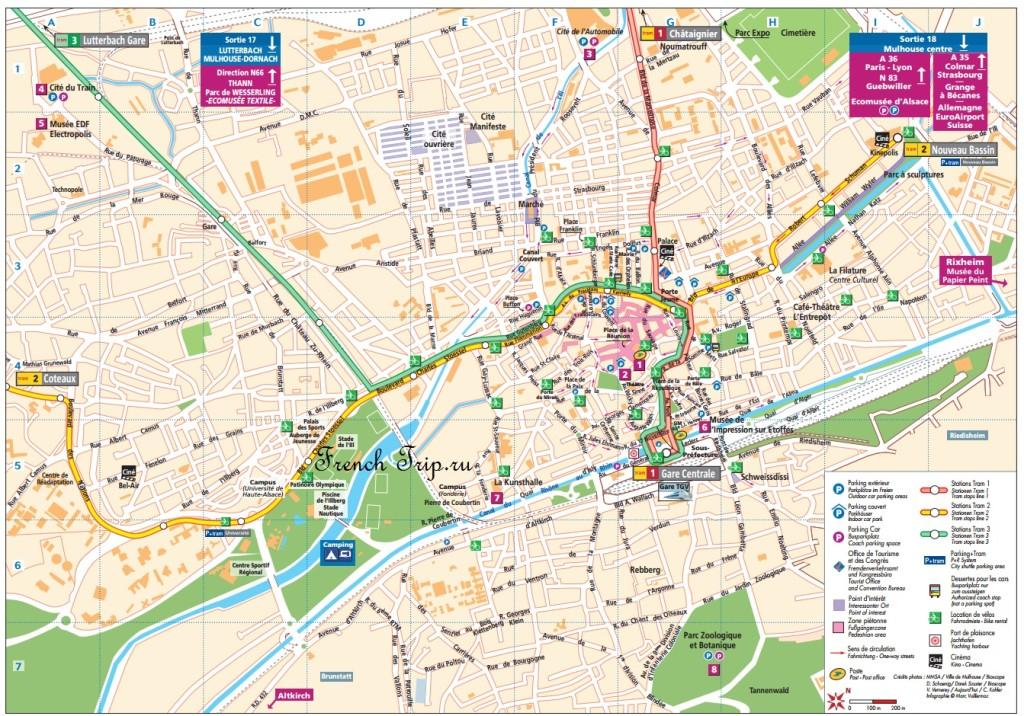 Карта Мюлуза с отмеченными достопримечательностями и парковками