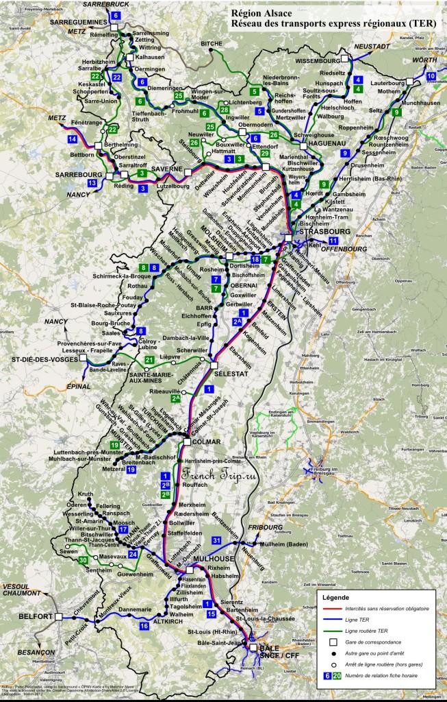 Карта маршрутов поездов по Эльзасу