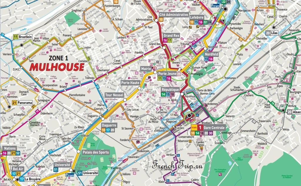 Схема городского транспорта Мюлуза