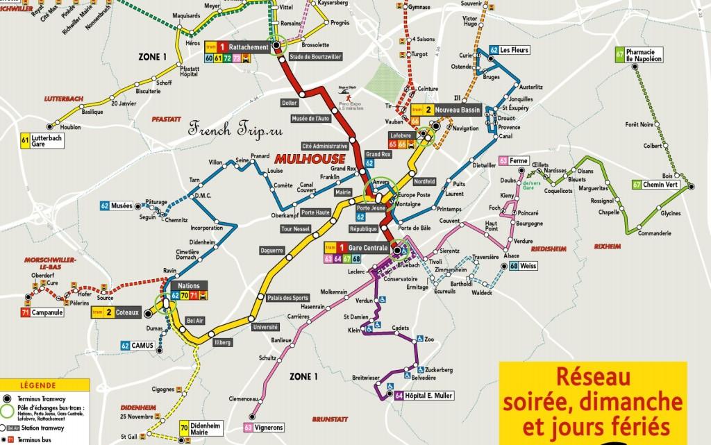 Схема городского транспорта Мюлуза в выходные и праздничные дни