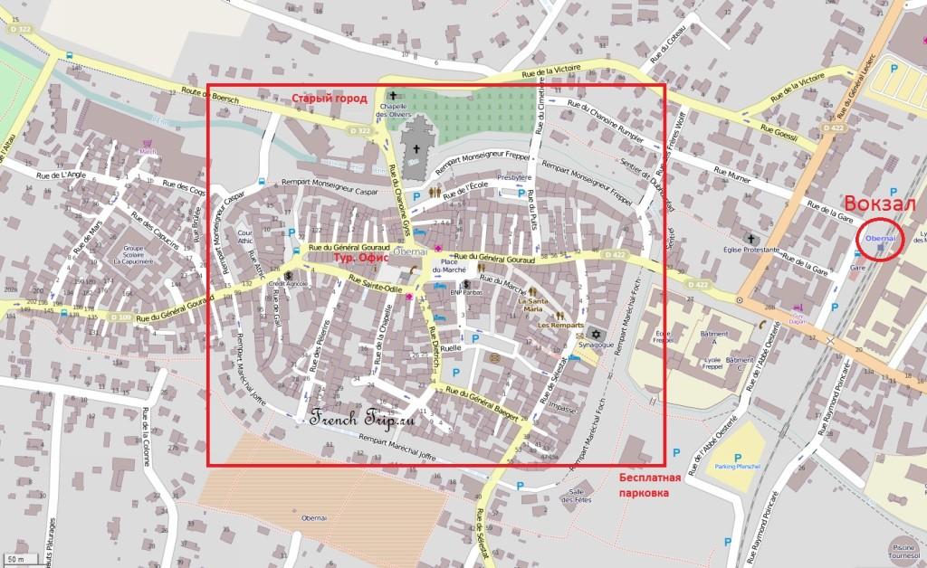 Карта Оберне в Эльзасе