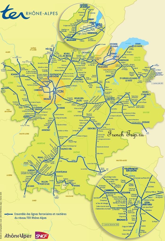 Карта Анси и региона: схема маршрутов поездов в регионе Рона-Альпы (Rhone-Alpes)
