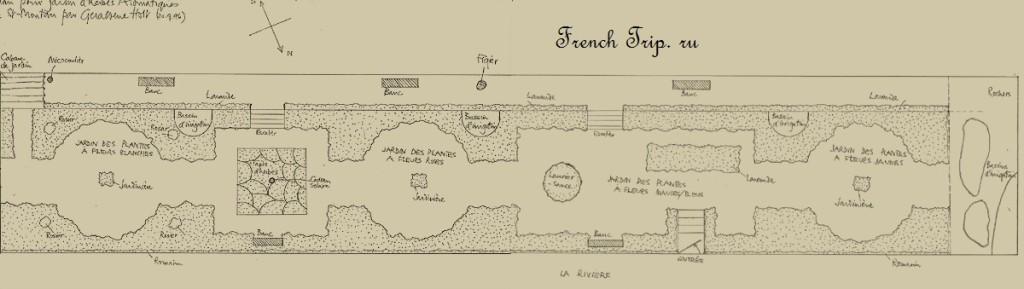"""План сада """"du Curé"""" - Saint-Montan (Сен-Монтан), Рона-Альпы, достопримечательности, путеводитель"""