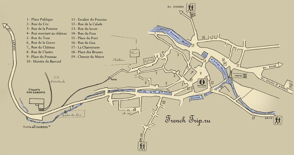 Карта улиц деревни Сен-Монтан - Saint-Montan (Сен-Монтан), Рона-Альпы, достопримечательности, путеводитель