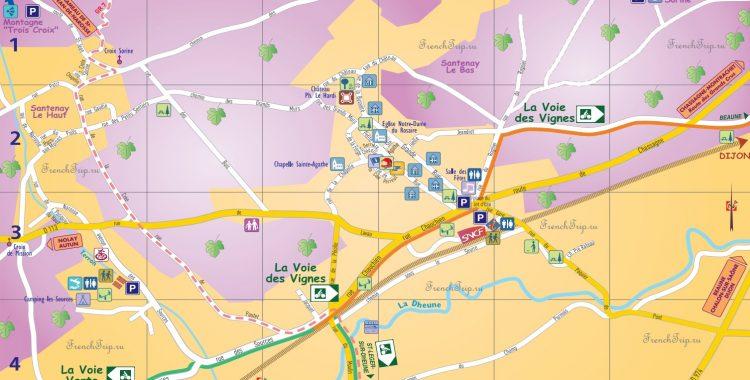 Santenay-map - туристическая карта Сантене, Бургундия, Франция