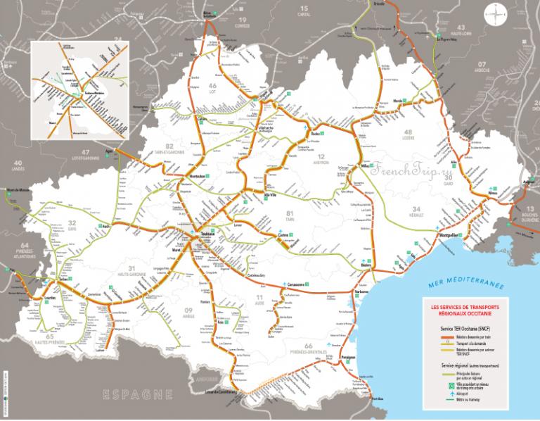TER Occitaine map train small региональные поезда по Франции, поезда по Окситании, поезда Лангедок Русийон, поезда Юн Пиренеи, поезда Тулуза, поезда Перпиньян, поезда Монпелье