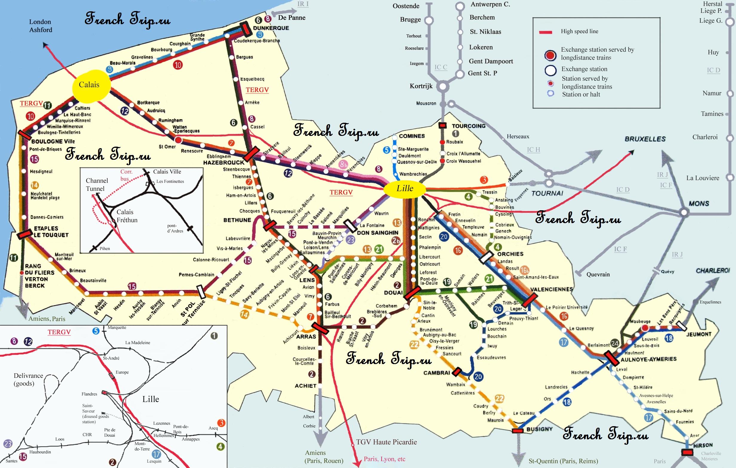 Региональные поезда Лилля на карте Схема маршрутов поездов по региону Норд-па-ле-Кале