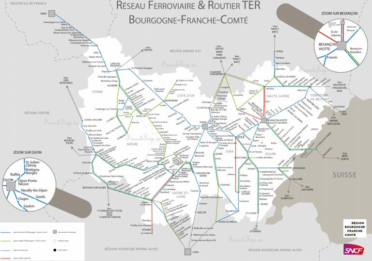 Региональные поезда по Франции - поезда по Бургундии, поезда по региону Франш-Конте, маршруты поездов на карте