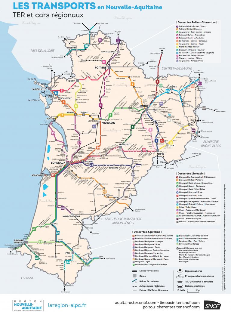 Региональные поезда по Франции - поезда по Новой Аквитании, карта маршрутов поездов по Аквитании