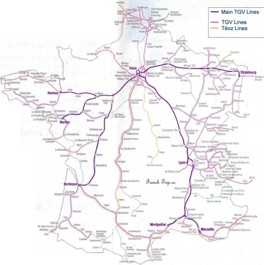 Схема маршрутов  скоростных поездов TGV по Франции - на поезде в Шамбери