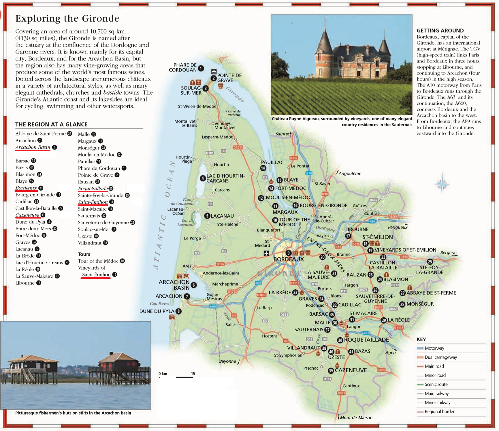 Аквитания, Жиронда, в окрестностях Бордо - карта и достопримечательности