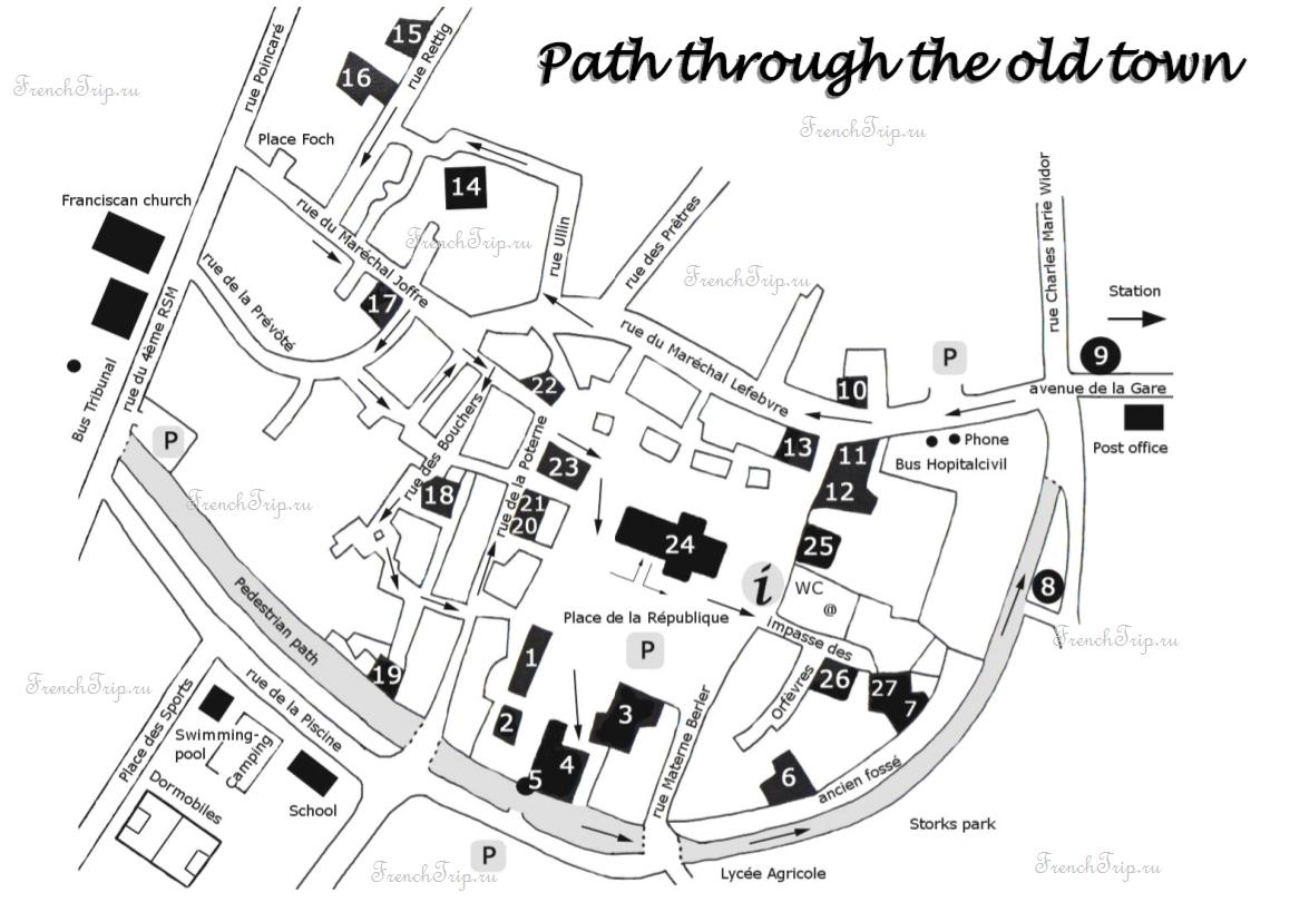 Rouffach (Руффаш) , Эльзас, Франция - карта города, туристический маршрут с отмеченными достопримечательностями