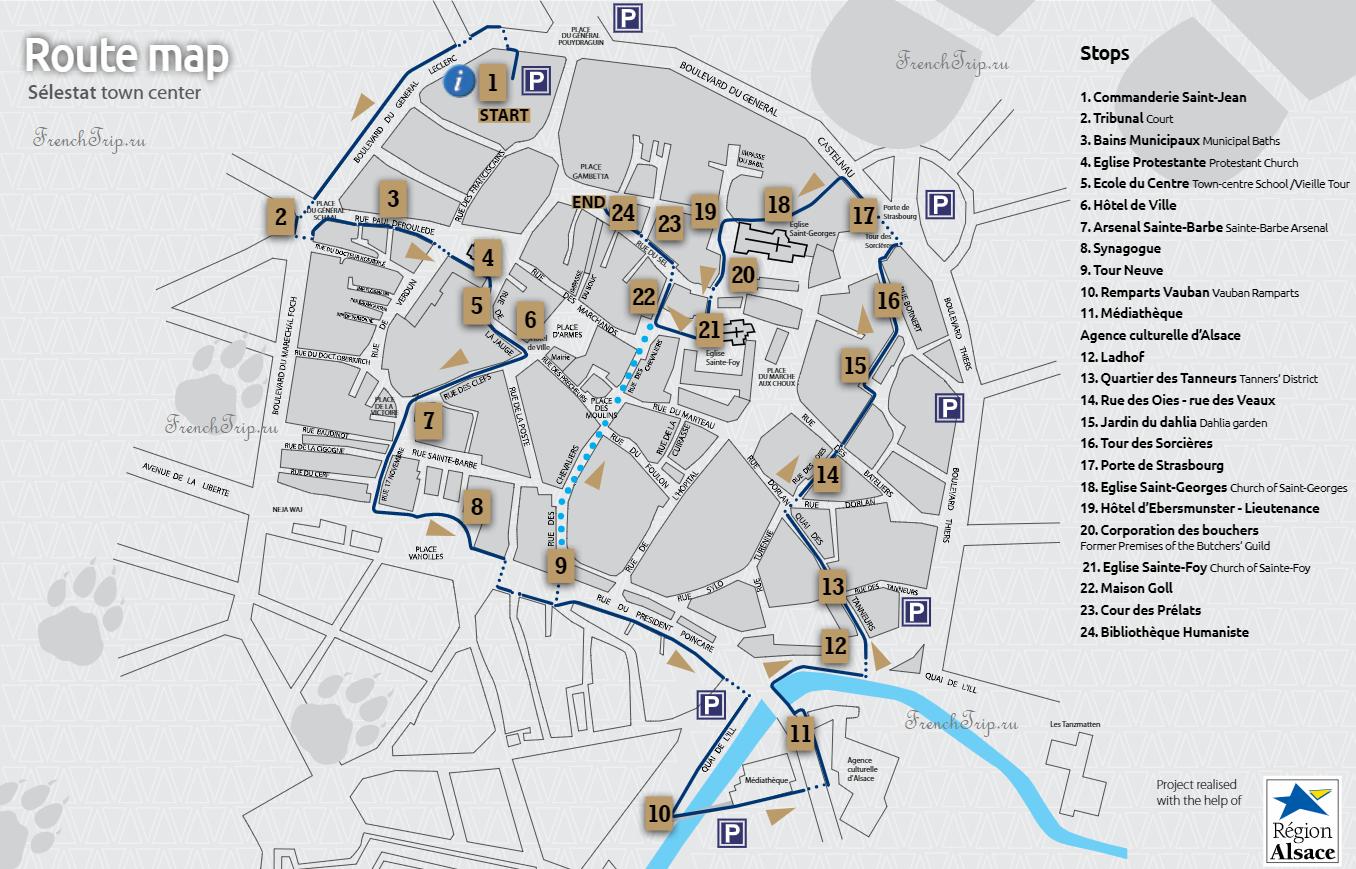 Selestat walking tour map