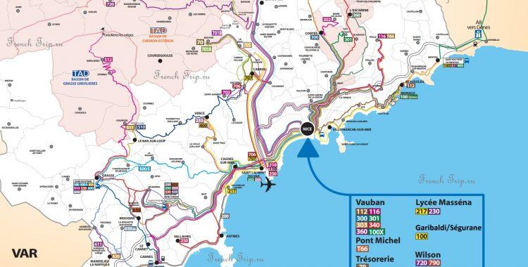На автобусе в Монако - Bus-lignes dAzur-map-Nice-Monaco-Cannes