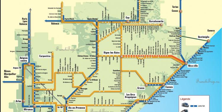 Cote d Azur bus train map LER, TER Provence transport map
