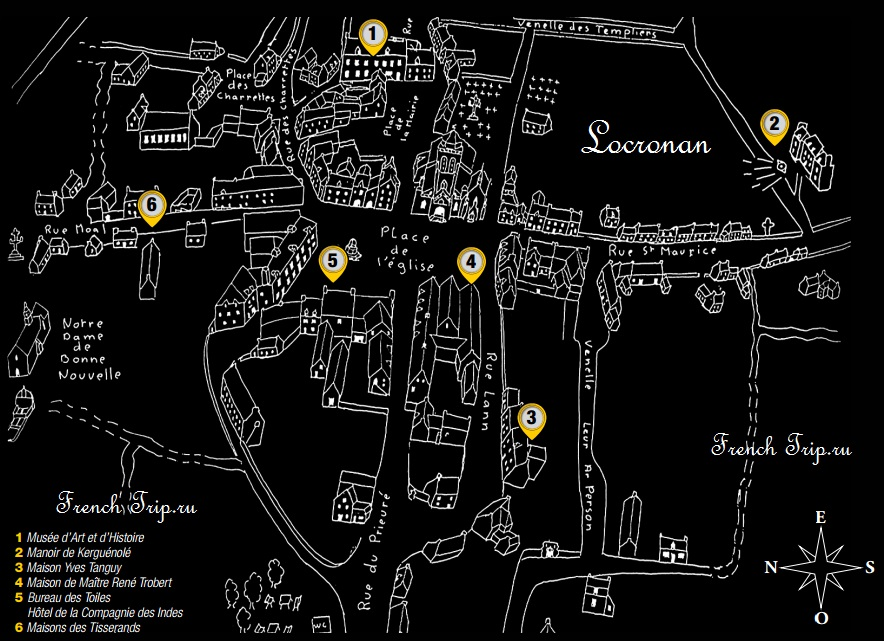 Достопримечательности Локронана на карте Locronan-map Locronan (Локронан), Бретань, Франция - путеводитель по городу