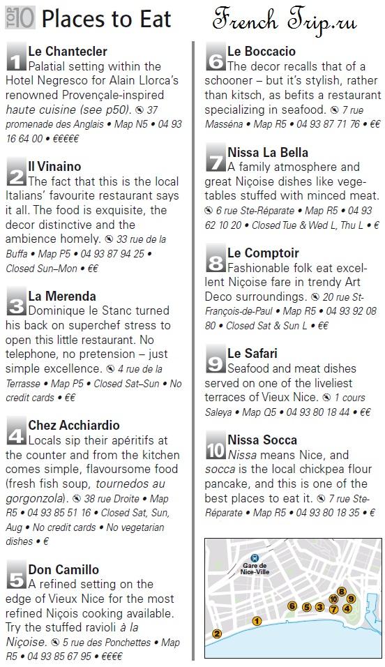 Топ 10 ресторанов в Ницце