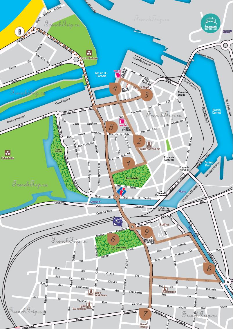 Calais_Walking-tour - Туристический маршрут по городу Кале с картой города. Путеводитель по Кале. Что посмотреть в Кале (Calais), Франция - достопримечательности Кале на карте