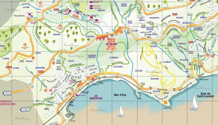 Туристическая карта города Эз, Франция