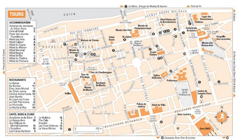 Туристическая карта города Тур, Франция - путеводитель по городу Тур