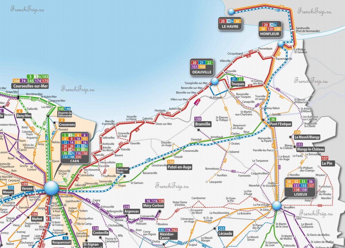 Bus Map Honfleur Le Havre Deauville Trouville Lisieux Caen - Схема маршрутов автобусов