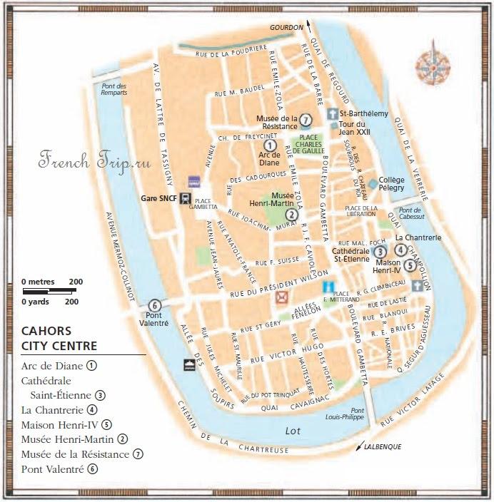 Туристическая карта города Каор