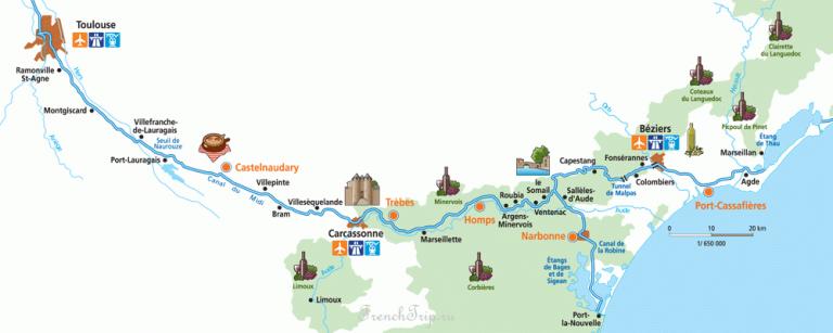 Canal du Midi (Канал дю Миди) Canal du Midi Map