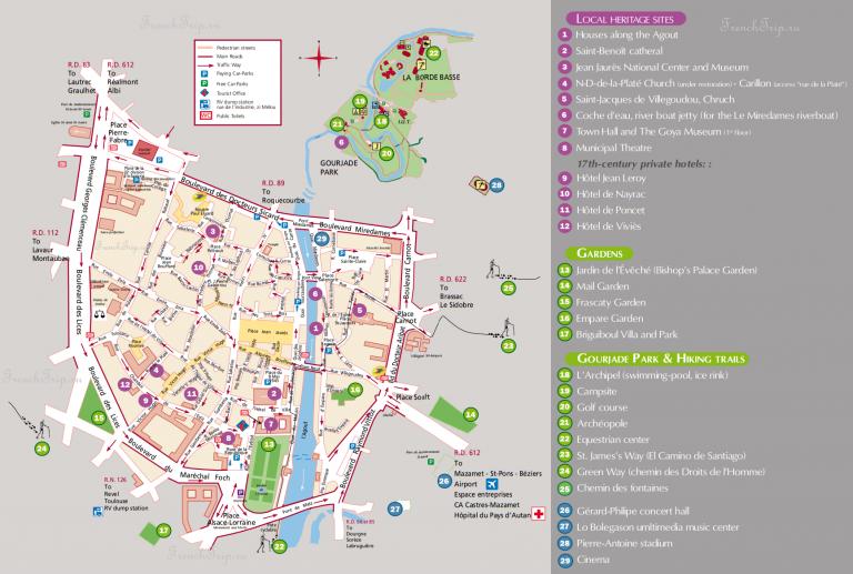 Карта города Кастр с отмеченными достопримечательностями