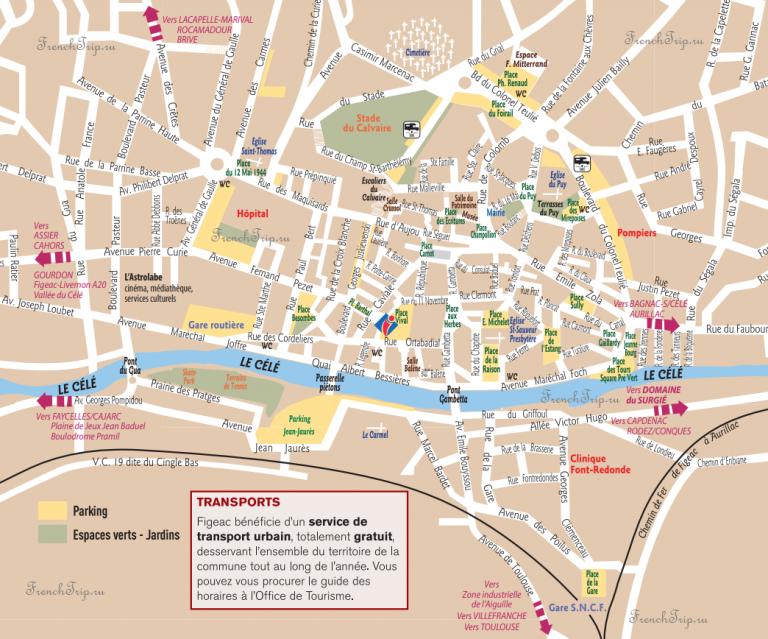 Figeac - Фижак, Франция - туристическая карта города с достопримечательностями