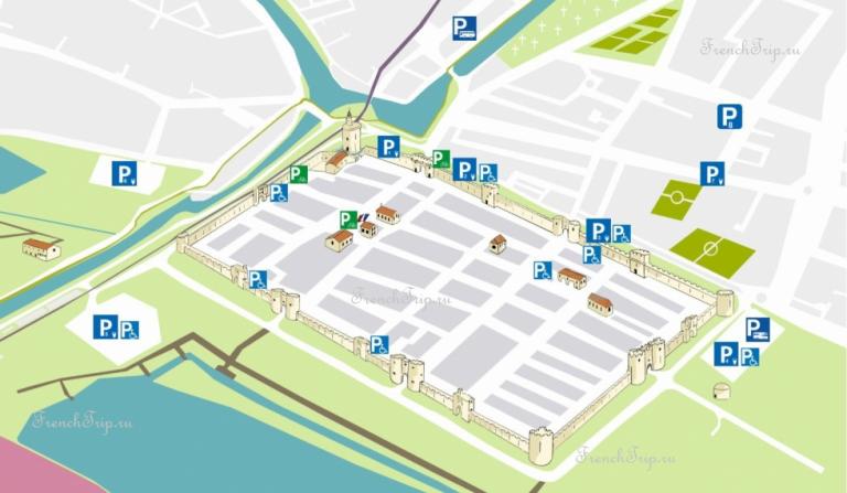 Aigues-Mortes parking map - парковки в эг-морте
