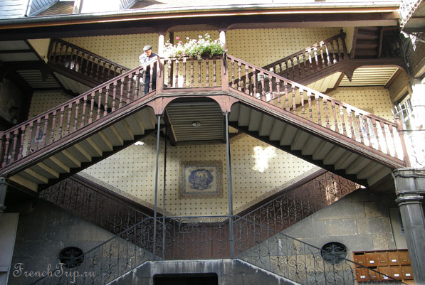 Exterior stairs of Besançon, Doubs, France.