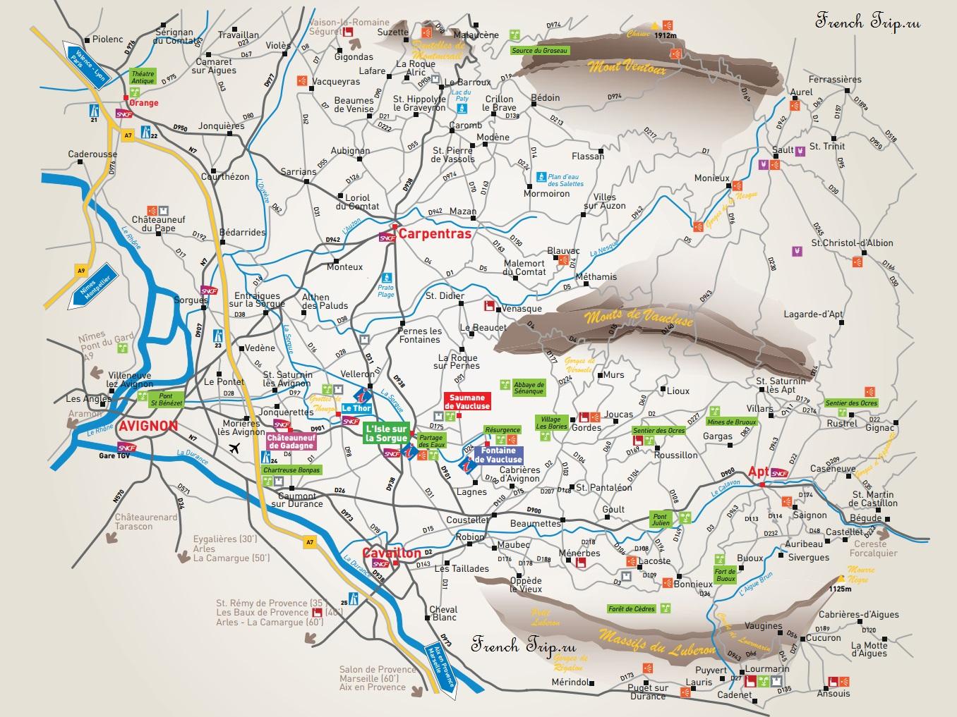 Luberon-достопримечательности Люберона на карте L'Isle-sur-la-Sorgue (Л'Иль-сюр-ла-Сорг)