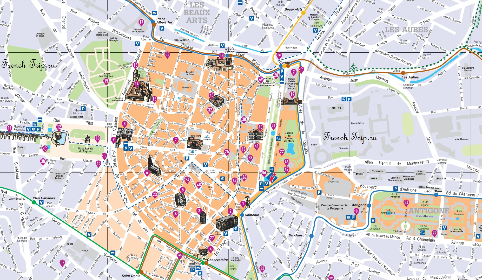 Туристический маршрут: Современный Монпелье - Исторические достопримечательности Монпелье Современный Монпелье