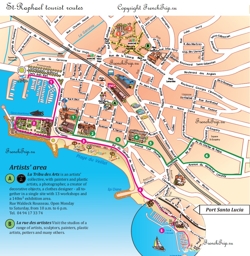 Туристический маршрут по городу Сен-Рафаэль - достопримечательности Сен-Рафаэля на карте