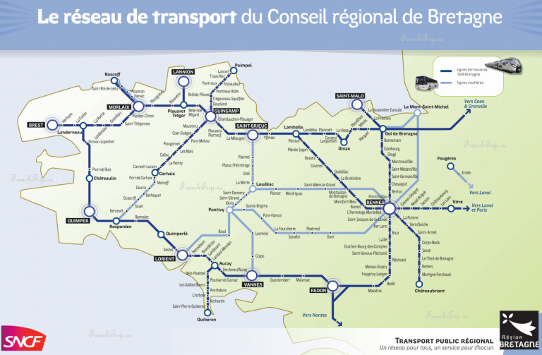 TER Bretagne Map - схема маршрутво поездов TER по Бретани