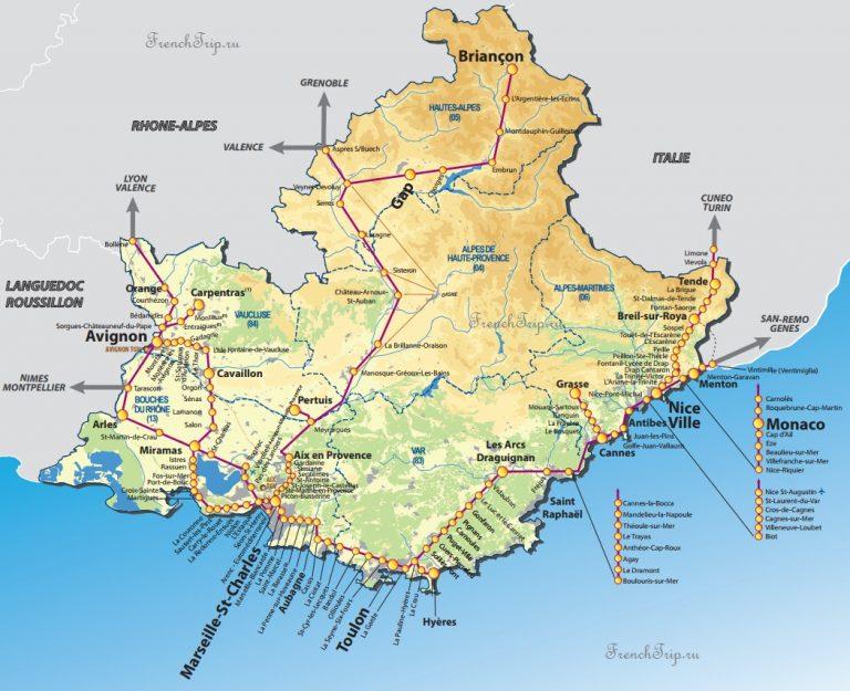 TER Provence - схема региональных поездов по Провансу - поезда из Марселя, Ниццы, Тулона, по Лазурному берегу