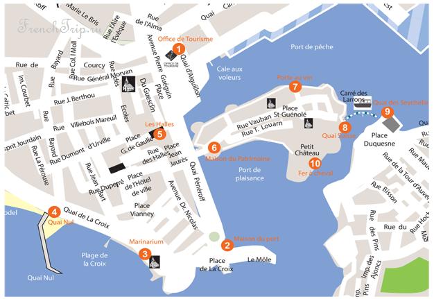 Туристическая карта Конкарно - Concarneau (Конкарно), Бретань, Франция: как добраться, расписание и билеты. Что посмотреть: достопримечательности, фото, карта. Путеводитель по Конкарно