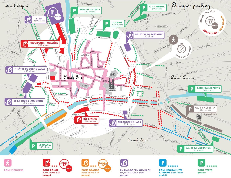 Quimper-parking - парковки в Кемпере на карте