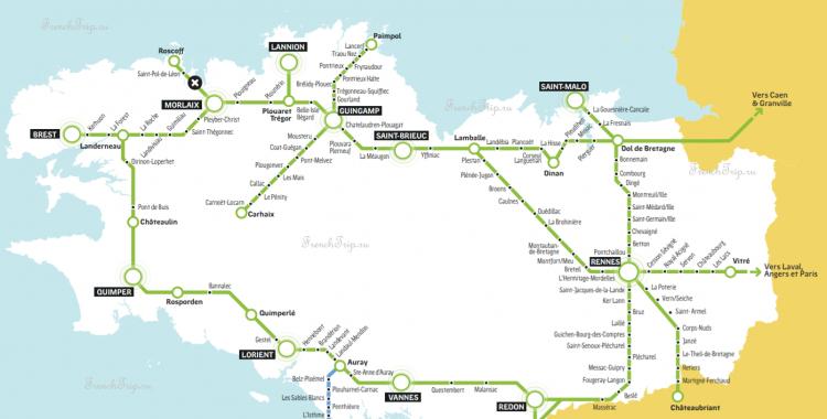 Схема маршрутов поездов по Бретани - транспорт Бретани, как добраться в Бретани, на поезде Бретань